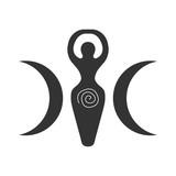 Vector illustration for Wiccan community: Spiral Goddess also known as Luna or Triple Goddess symbol. - 191690588