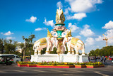 Elephants Statues in front of Wat Phrakew Temple , Bangkok, Thailand.