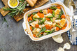 Chicken fillet, meat baked with cauliflower, carrot and green beans - 191694337