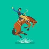 Rodeo cowboy riding a horse. Vector illustration - 191702940