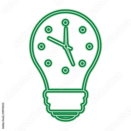 clock inside light bulb idea motivation vector illustration green line design