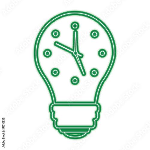 clock inside light bulb idea motivation vector illustration green line design