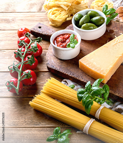 Wall mural Italian food background