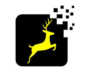 pixel deer reindeer deer elk stag image vector icon logo silhouette 1