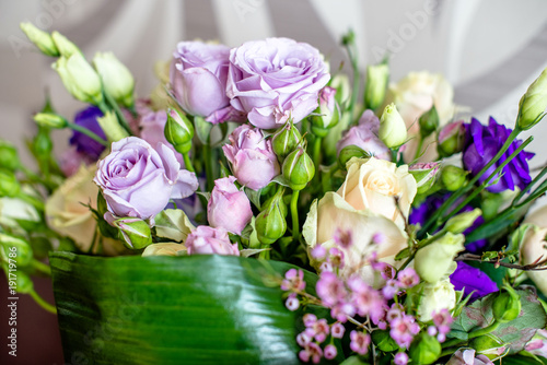 bouquet of lilac and white roses closeup