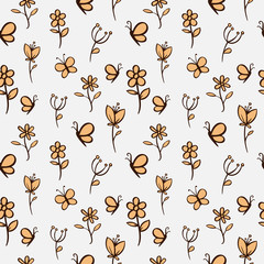 flower and butterfly seamless pattern