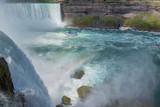 Niagara Falls, Tour Boat under Horseshoe Waterfall and Rainbow. - 191726136
