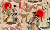 Japanese and Chinese culture seamless pattern. Geishas and dragons. Traditional Japanese culture, red sun, dragons and geisha woman pattern. Japan art - 191726937