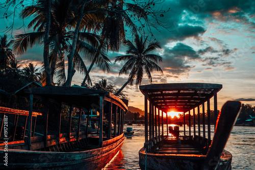 Fotobehang Strand Mekong sunset