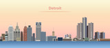 vector abstract illustration of Detroit city skyline at sunrise