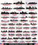 vector set of United States abstract city skylines silhouettes poster