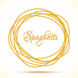 Fototapety Realistic Twisted Spaghetti Pasta Circle Frame. Vector illustration