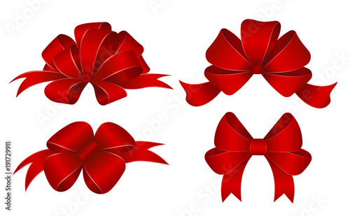 Set of red gift bows. Vector illustration. Concept for invitation, banners, gift cards, congratulation or website layout vector. © saha_ha32