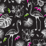 Decorative seamless pattern with ink hand-drawn Tropical hibiscus flowers, leaves and flamingo bird. Vector illustration. - 191732729