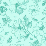 Decorative seamless pattern with ink hand-drawn Tropical hibiscus flowers and leaves. Vector illustration. - 191732773