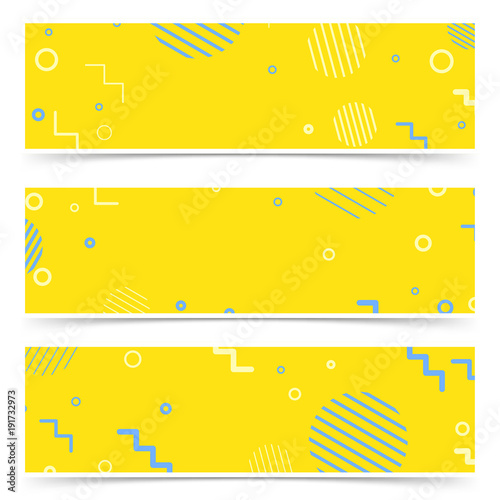 Bright yellow-blue abstract hipster vintage elements card collection