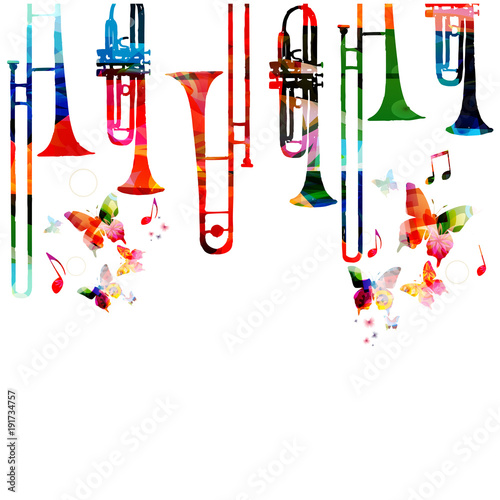 Music colorful background with saxophones. Jazz music festival poster. Saxophone isolated vector illustration. Music instrument vector © abstract