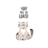 Hand drawn vector abstract modern cartoon Happy Valentines day concept illustrations card with cute cat and handwritten modern ink calligraphy text You are so loved isolated on white background - 191741346