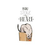 Hand drawn vector abstract modern cartoon Happy Valentines day concept illustrations card with cute cat and handwritten modern ink calligraphy text You stole my heart isolated on white background - 191741371