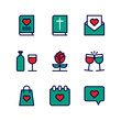 Relationship Icon Set Lovely Vector Collection Isolated