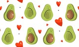 Hand drawn vector abstract modern cartoon Happy Valentines day concept illustrations seamless pattern with avocado couple and many hearts shape isolated on white background - 191741918