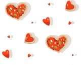 Hand drawn vector abstract modern cartoon Happy Valentines day concept illustrations seamless pattern with pizza and cookies heart shape and many hearts isolated on white background - 191741953
