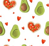 Hand drawn vector abstract modern cartoon Happy Valentines day concept illustrations seamless pattern with cute avocado couple,heart shape pizza and many hearts isolated on white background - 191741988