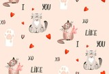 Hand drawn vector abstract modern cartoon Happy Valentines day concept illustrations seamless pattern with cute cats,paws,handwritten calligraphy and many hearts isolated on pastel pink background - 191741997
