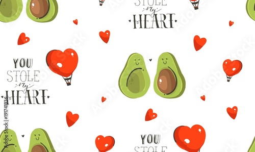 Hand drawn vector abstract modern cartoon Happy Valentines day concept illustrations seamless pattern with avocado couple,hearts shape and handwritten calligraphy text isolated on white background - 191741936