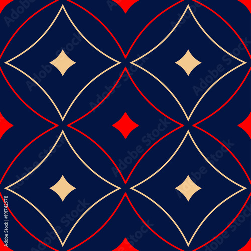 Geometric blue seamless pattern. Red and beige print  - 191742978