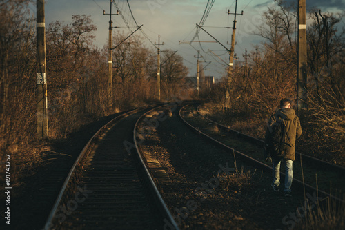 Fotobehang Spoorlijn Railway Travel