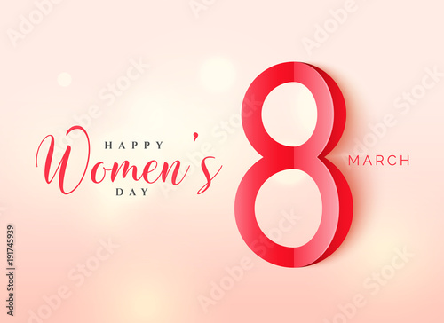International women's day poster design in origami style with beautiful background