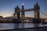 Tower Bridge and the Shard in London at night or sunset - 191746335