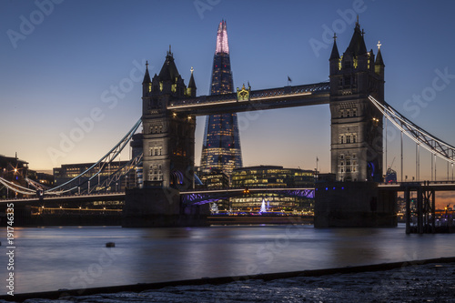 Staande foto Londen Tower Bridge and the Shard in London at night or sunset
