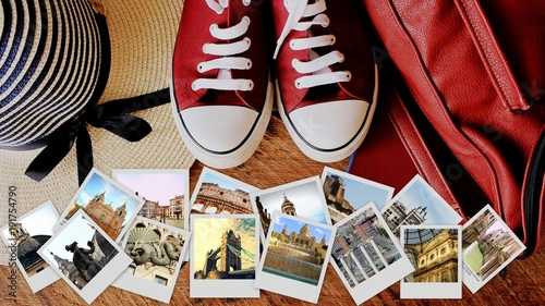 In de dag Milan Collage of landmarks, set of travel photos. Suitcase and tourist stuff on wooden background
