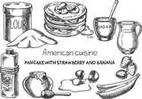 American cuisine / Creative conceptual vector. Sketch hand drawn american food recipe illustration, engraving, ink, line art, vector. - 191754970