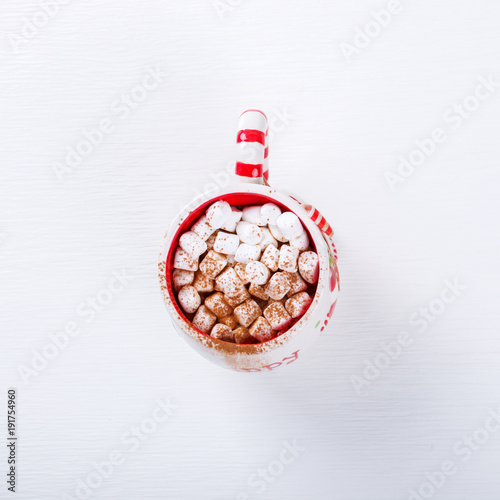 Foto op Canvas Chocolade Hot Chocolate with Marshmallow. Warming holiday drink with cinnamon on a white background Warm Christmas.Top View Copy space for Text