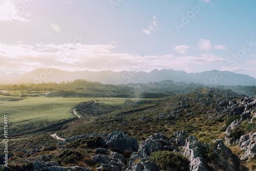 Foto op Plexiglas Blauwe hemel Asturias aterdecer