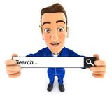 3d mechanic holding a search bar - 191761109