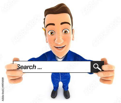3d mechanic holding a search bar