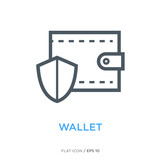 Protected wallet line flat icon - 191762103