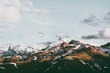 Sunset Mountains peaks Landscape Summer Travel wild nature scenic aerial view .