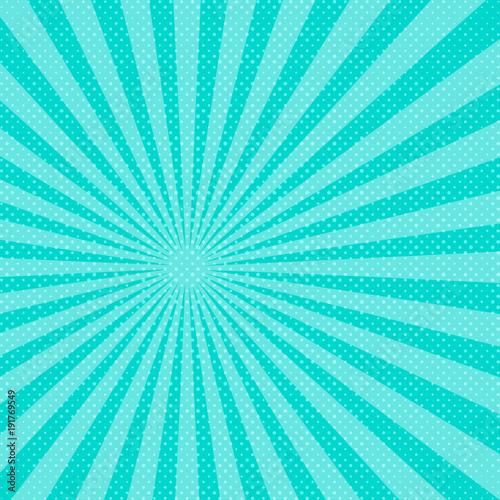 Plexiglas Pop Art Blue pop art sunbeams background. Vector illustration.
