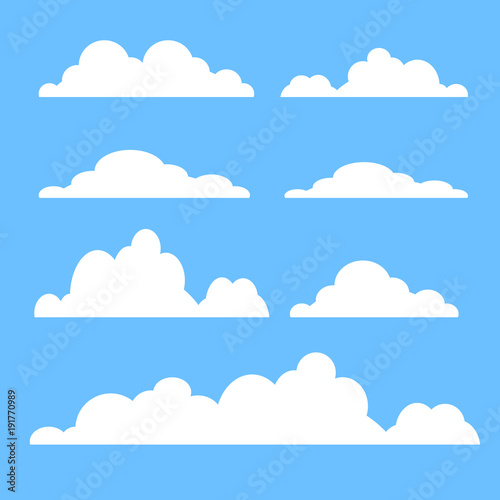 Cloud vector icon set white color on blue background. Sky flat illustration collection for web, art and app design. Different cloudscape weather symbols
