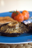 Simple healthy meal, grilled mushrooms with cheese, tomatoes and toast - 191776591