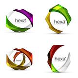 Set of hexagon shape business emblems - 191781525