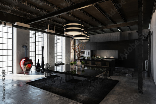 Shadowy black designer industrial loft conversion - 191786568