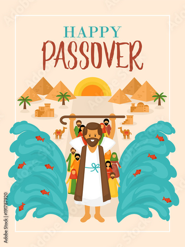 Fotobehang Wit Passover holiday greeting card design