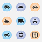 Set of 9 editable shipment icons. Includes symbols such as yacht, bogie, taxi and more. Can be used for web, mobile, UI and infographic design.