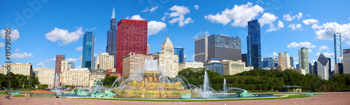 Chicago skyline panorama with Buckingham Fountain, United States